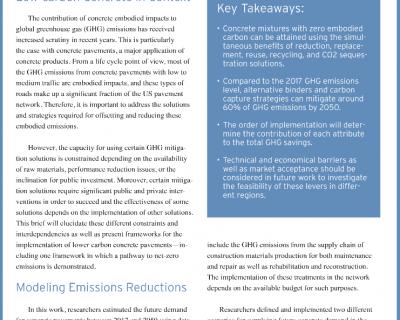 MIT Publishes Research Brief on Net-Zero Carbon Concrete in U.S. Pavements