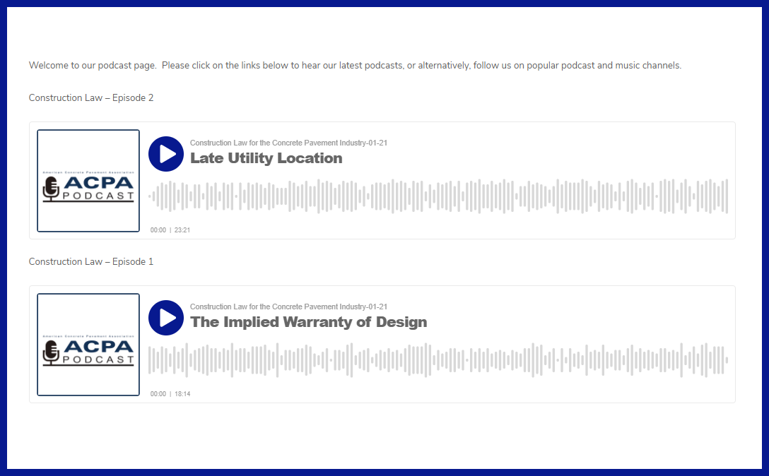 ACPA Adds Podcast to Our Construction Law Program