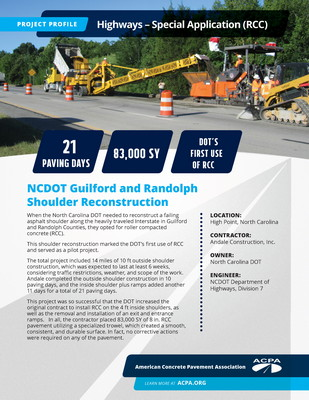 Project Profile NC HWY NCDOT Guilford And Randolph Shoulder Reconstruction Page 1
