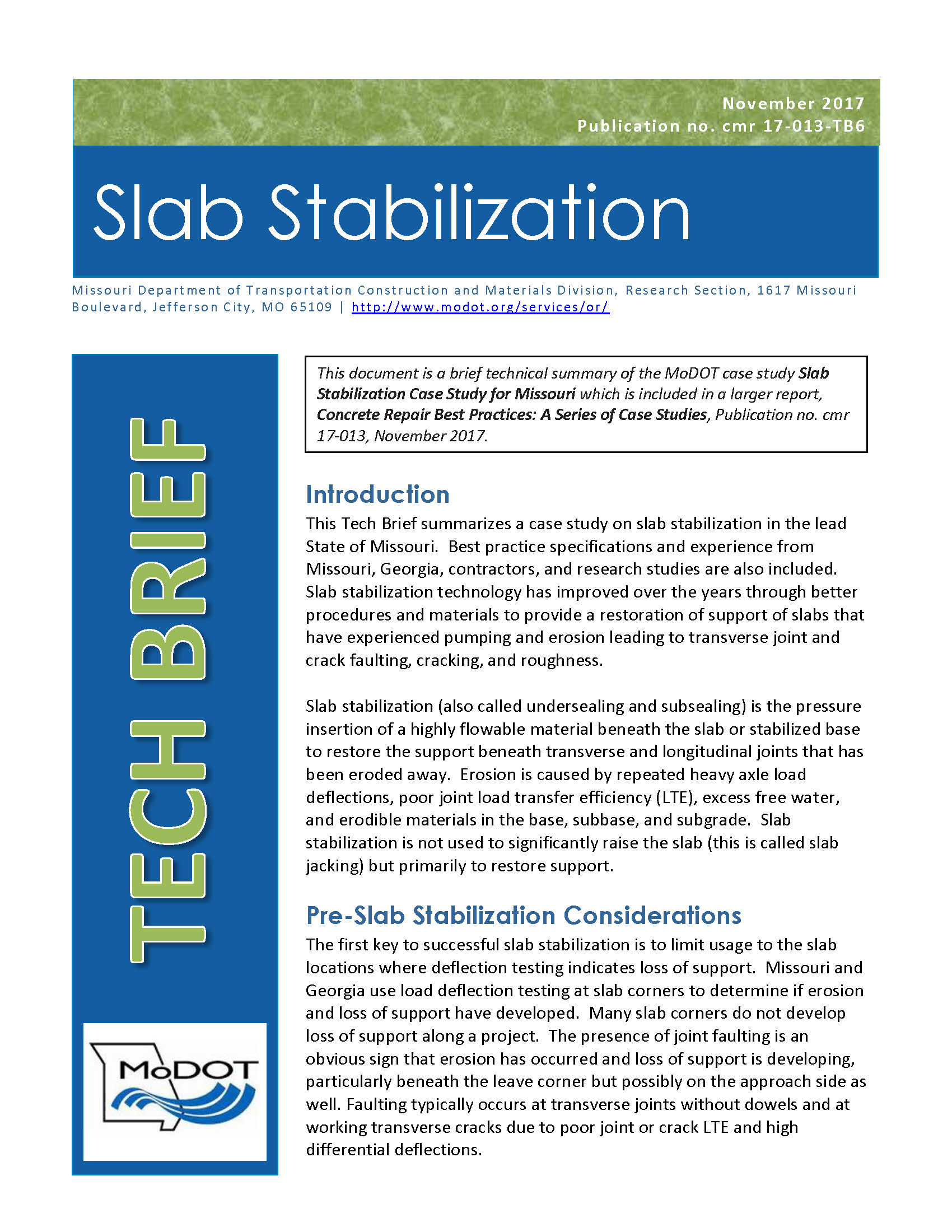 Slab Stabilization