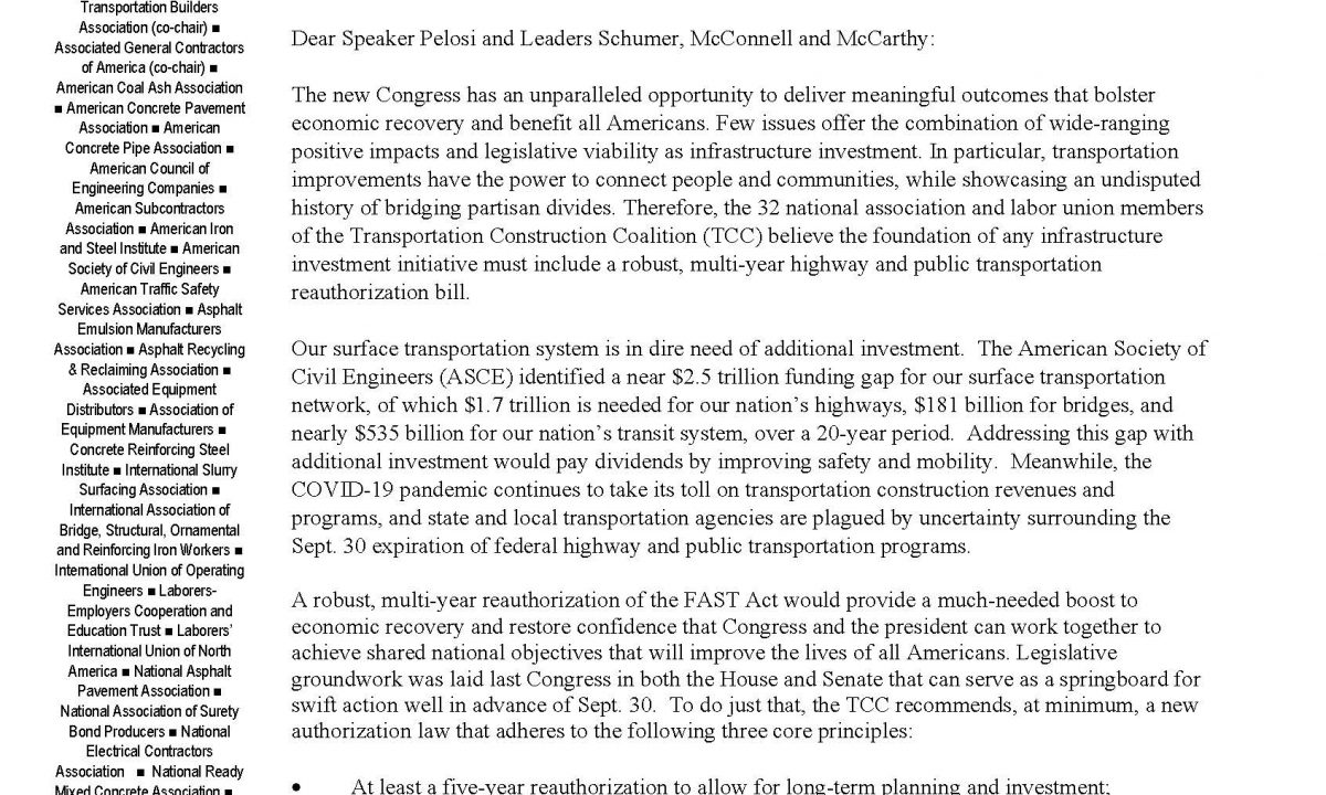 ACPA and TCC Urge Congress to Enact Highway Bill