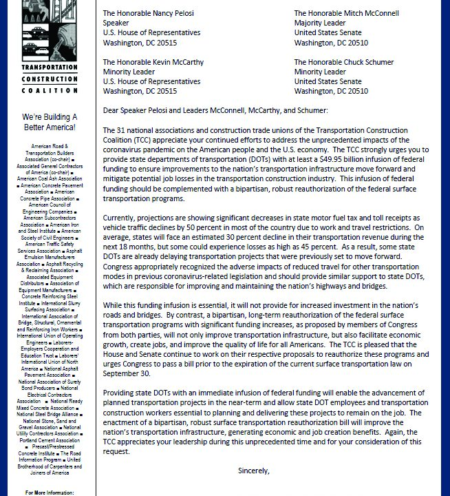 TCC Urges Congressional Leaders to Support Relief and Rebuilding Efforts