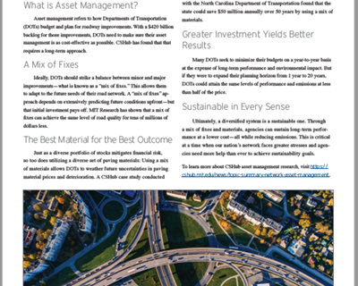 MIT Fact Sheet Describes Asset Management