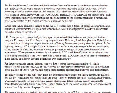 ACPA and PCA Support LCCA Amendment