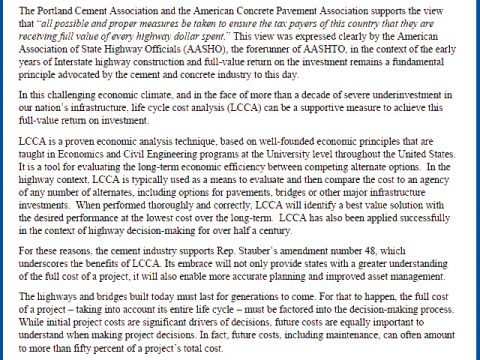 ACPA and PCA Support LCCA Amendment