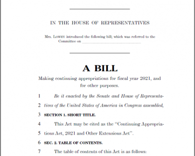 House Continuing Resolution Includes One-Year Highway Bill Extension
