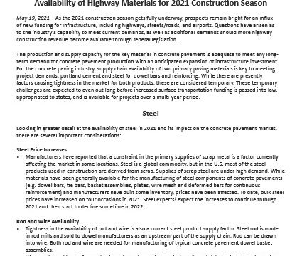 ACPA Offers Perspectives on Availability of Highway Materials