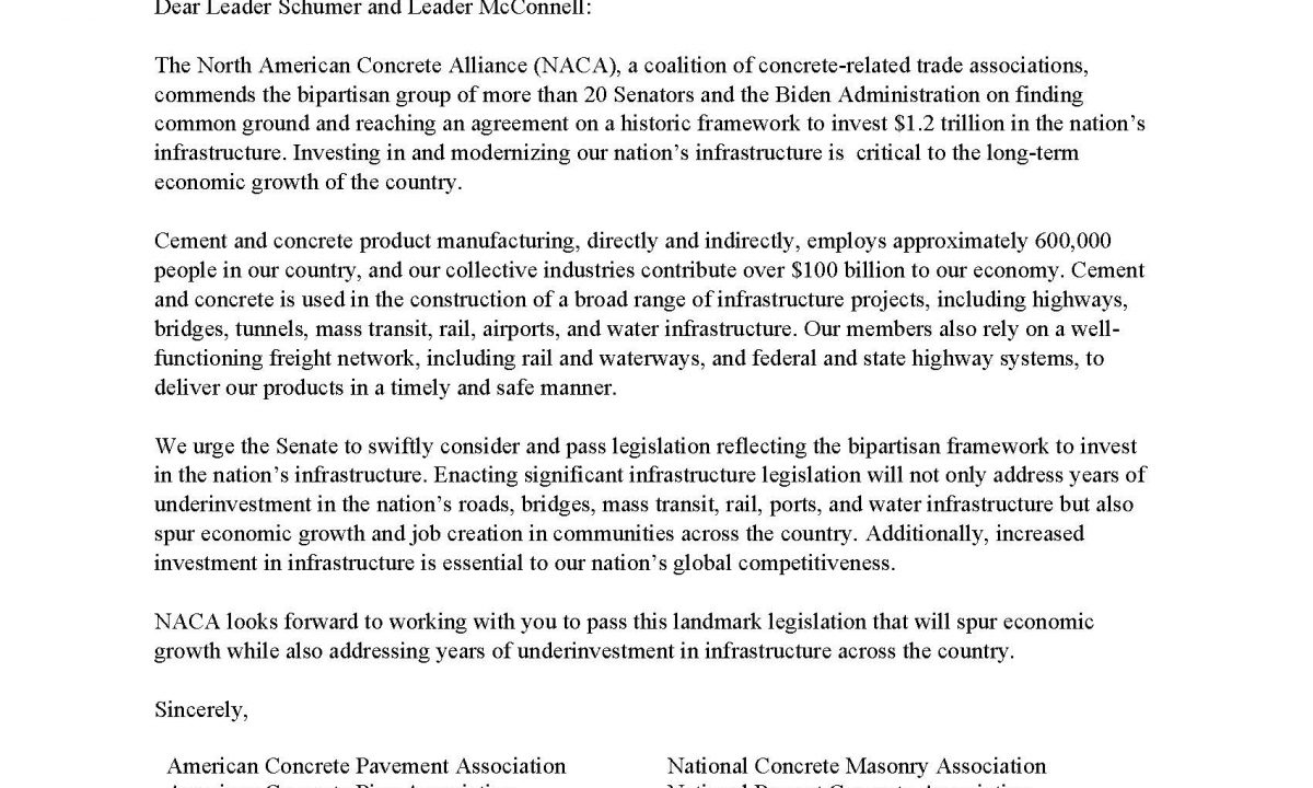 ACPA Joins Coalition Letter to Senate Leadership Supporting Bipartisan Infrastructure Framework